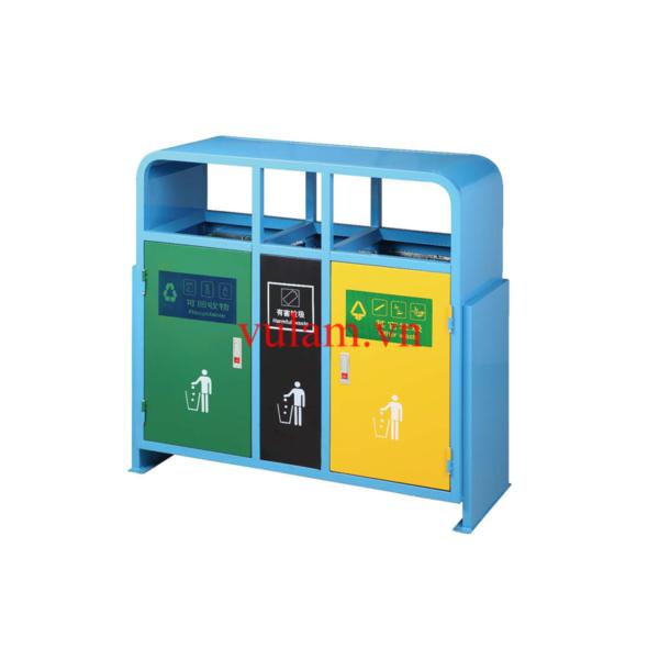 Thùng rác inox 2 ngăn để ngoài trời A58-j giá rẻ ở hà nội và hcm