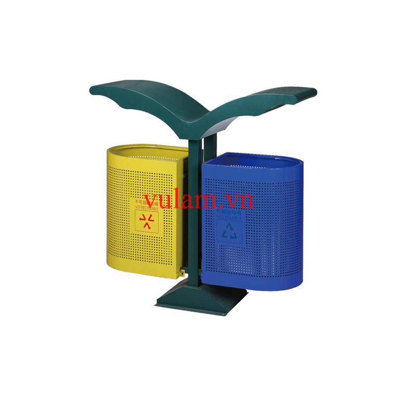 thùng rác 2 ngăn để công viên, trường học, bệnh viện
