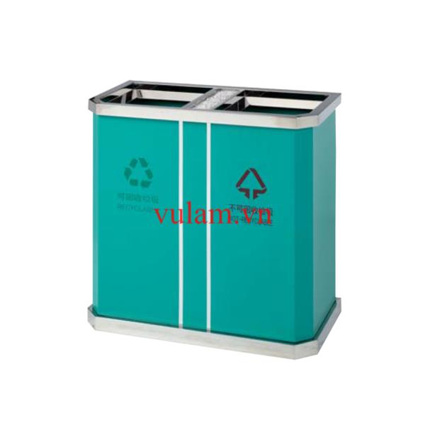 thùng rác inox 2 ngăn A45 xanh