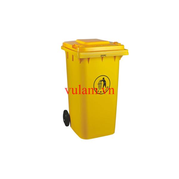 thùng rác nhựa 120 lít màu vàng