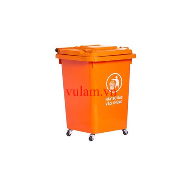 thùng rác nhựa 60 lít màu cam giá rẻ ở hà nội và hcm