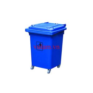 thùng rác nhựa 4 bánh xe 60 lít màu xanh nước biển